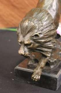 Art Deco Jumping Lion Bronze Sculpture Statue Figurine