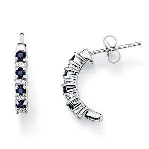 PalmBeach Jewelry 10K White Gold Blue Sapphire and Diamond Accent Semi