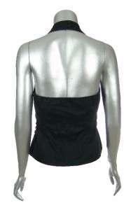Sutton Studio Womens Linen Blend Black Zip Up Halter Top Vest 4