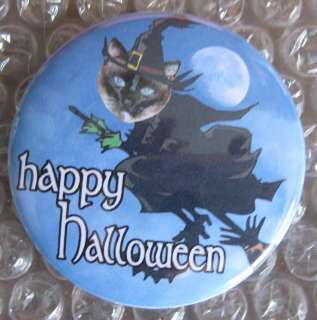 HALLOWEEN witch Siamese Cat badge button pin flair PETGIFT