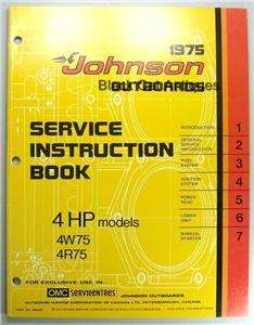 Outboard Motor Service Instruction Manual 4 HP Models 4W75 4R75
