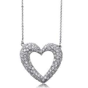 CZ Open Heart Pendant Necklace   Womens Necklaces Jewelry Jewelry