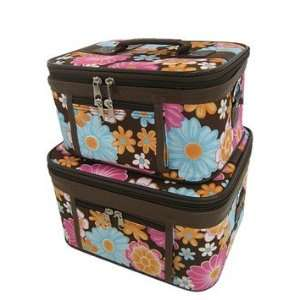 Train Case Cosmetic Toiletry 2 Piece Luggage Set Brown Multi Color