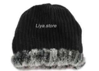 new womens real genuine knit rex rabbit fur rose warm hats caps free