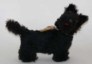 HERMANN STUFFED ANIMAL BLACK FOX TERRIER DOG c. 1940