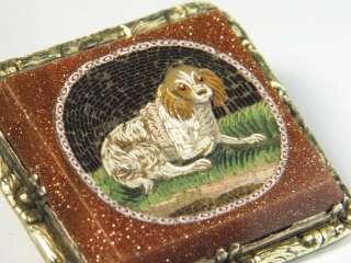 ANTIQUE GOLD MICROMOSAIC SPANIEL DOG PIN BROOCH 1830