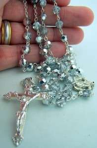 Crystal Rosary Beads Silver P Mary Cross Crucifix Box