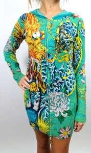 AUDIGIER ED HARDY WOMENS PREMIUM DRESS TOP SHIRT GREEN DRAGON