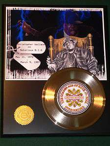 Notorious B. I. G. Biggie Smalls 24kt Gold Record Rap Hip Hop R&B X