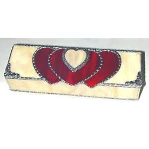 Stained Glass Heart Jewelry Box   Red & Cream   3 x 8 1/2