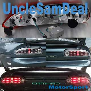 98 02 CHEVY CAMARO CLEAR LENS BLACK RED LED TAIL LIGHTS