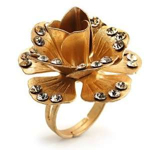 Gold Tone Crystal Rose Cocktail Ring Jewelry