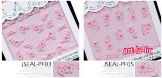 20 Sheet x Mix Designs French Style Pink Flowers Nail Art Stickers