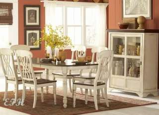 NEW 7PC ANTIQUE WHITE & CHERRY FINISH DINING WOOD TABLE SET