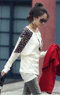 New Casual Korea Women Leopard Round Neck Long T shirt