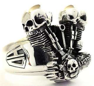 SKULL MOTORCYCLE ENGINE STERLING 925 SILVER RING Sz 8 NEW MENS BIKER