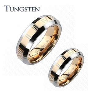 Tungsten Carbide Rose Gold IP Roman Numerals Beveled Couple Ring 4 Sz