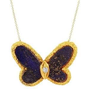 Gold Womens Diamond Butterfly Necklace 0.05 Ctw Avianne & Co Jewelry