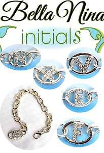 Russ Bella Nina Diamonte Silver Initial Letter Bracelet