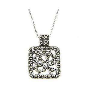 Sterling Silver Marcasite Square Flower Design Pendant Jewelry