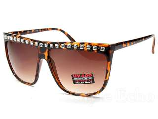 Retro Flat Top Rhinestone Womens Wayfarer Fashion Sunglasses