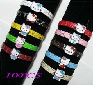 10pcs Hello Kitty DIY leather Bracelet Kids Birthday Party Favous Gift