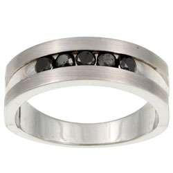 Sterling Silver Mens 1/2ct TDW Black Diamond Ring