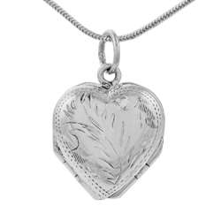 Sterling Silver 4 way Etched Heart Locket Necklace