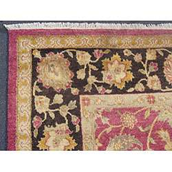 Indo Hand knotted Mahal Red/ Black Wool Rug (8 x 10)