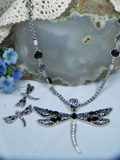 Antique Silver Tone Black & Crystal Large Dragonfly Necklace Set