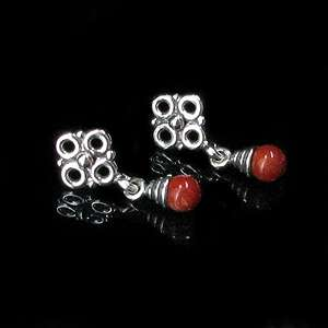 925 Sterling Silver Natural Red Coral Flower Earrings