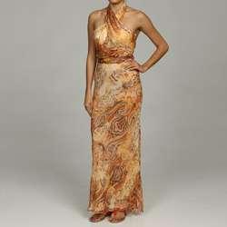 Issue New York Womens Silk Paisley Halter Maxi Dress