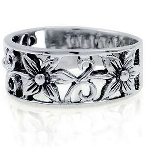 925 Sterling Silver FLOWER FILIGREE Band Ring Size/Sz 6 696