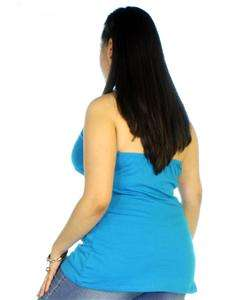 Blue plus size halter top blouse with floral design