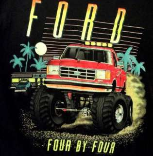 RAD Black 80s Vtg Ford Monster Truck Neon T Shirt sz L