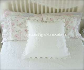 Full Queen Blue Quilt & Shams Bed Set Shabby Beach Cottage Chic Shell
