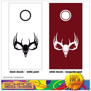 Cornhole Board Decal Set Deer Skull Hunting bean bag