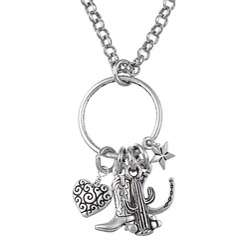 Charming Life Pewter and Silvertone Western Cowgirl Charm Necklace
