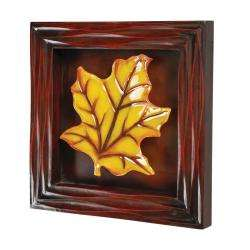 Amber Glass Leaf in Brown Wood Shadow Box Wall Art
