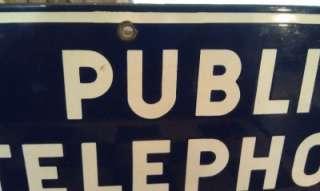 Vintage BELL SYSTEM Public Telephone Porcelain Sign