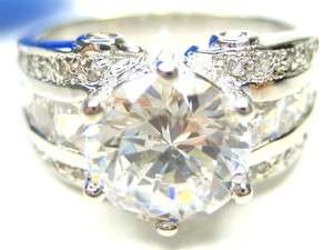 5CT DIAMONIQUE PRINCESS CUT STERLING 9MM RING 7.5
