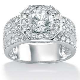 Carat Diamond Wedding 10K White Gold Octagon Ring