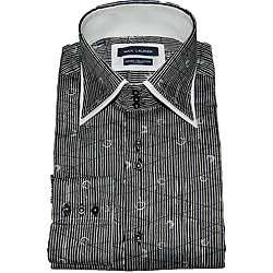 Max Lauren by BRIO UOMO Mens Fashion Black Print Stripe Dress Shirt