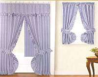 NEW DOUBLE SWAG FABRIC SHOWER &WINDOW CURTAIN   BLUE