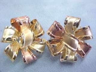 Modern STUNNING 10k yg rg gold bow pierced earrings