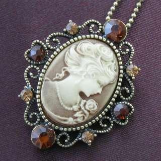 Brass Brown Topaz Rhinestone Designer Cameo Necklace Pendant 0