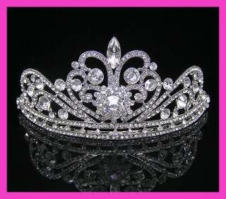 Wedding/Bridal crystal veil tiara crown headband CR211