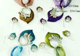 H751 Shiny Fashion Design Bridal Gemstone Necklace Pendant Earrings