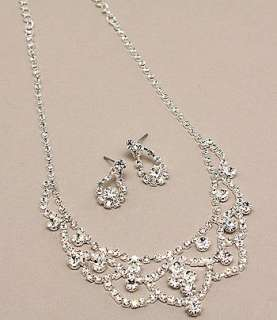 Bridal Wedding Jewelry Set Crystal Rhinestone Clear