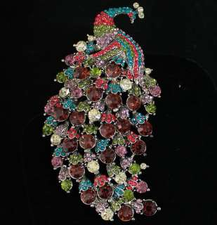 HUGE SEXY PEACOCK FASHION BROOCH PIN PENDANT AUSTRIAN RHINESTONE